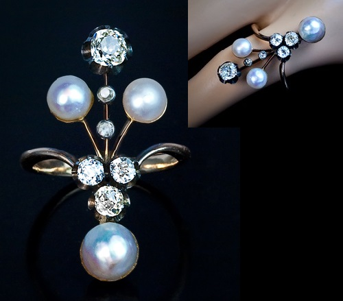 A Unique Belle Epoque Pearl and Diamond Ring. Russian Art Nouveau jewellery