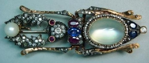 Brooch Beetle. Gold, rubies, sapphires, diamonds, moonstone, pearl. 1898. Faberge Firm. Russian National Museum. St. Petersburg