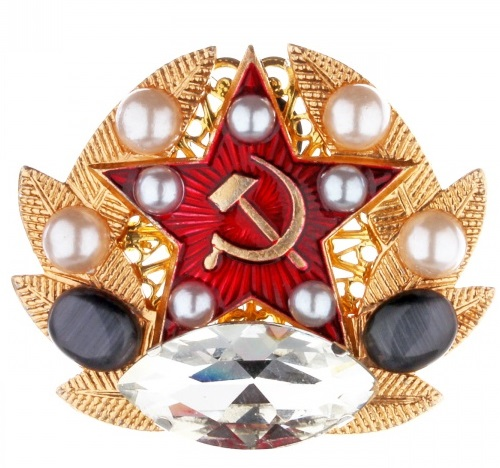 Brooch-pendant in heraldic style with pearls, cat's eye and Swarovski crystals. Georgy Rushev jewellery collection 'Patriot'