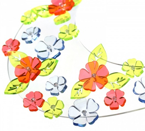 Collier-collar made of plastic, decorated with flowers. Plastic jewellery by Alexandra Burkina