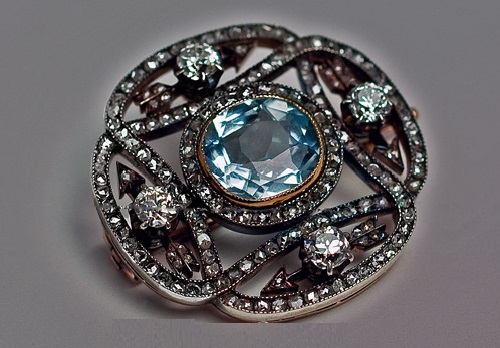 Eternity Diamond Brooch by Carl Faberge. Russian Art Nouveau jewellery