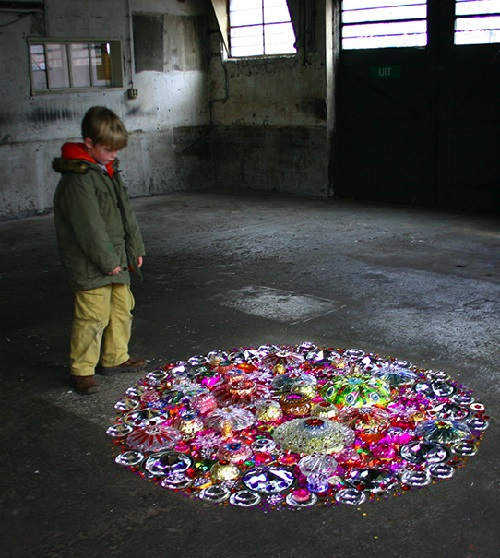Installation on the floor of an old factory