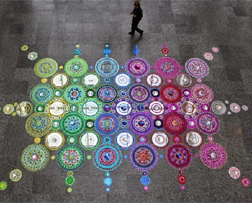 Kaleidoscope installation of crystals, chrome-plated metal, optical glass, and precious stones. Art by Dutch artist Suzan Drummen