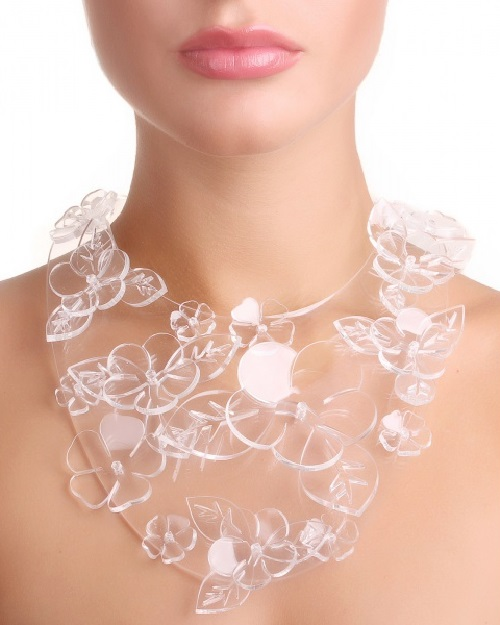 Necklace of plastic, decorated with large flowers and leaves. Plastic jewellery by Alexandra Burkina