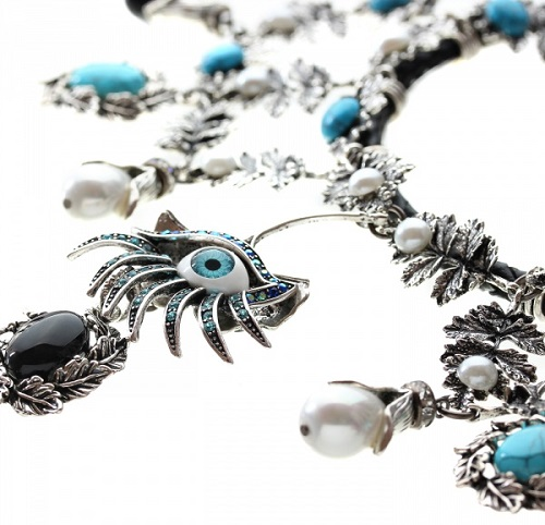 Necklace with pearls, turquoise, cat's eye and Swarovski crystals on leather cord
