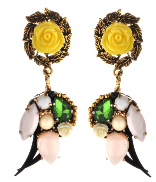 Original earrings with roses, decorated with Swarovski crystals