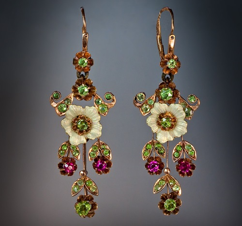 Russian Art Nouveau Vintage Long Earrings. Moscow between 1908 and 1917. Gold, enameled pearl, Uralian demantoids, synthetic rubies