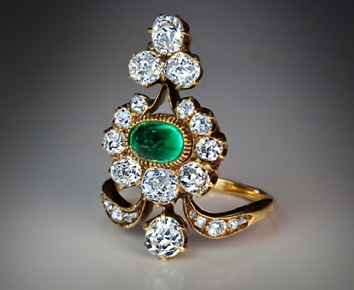 Russian Belle Epoque Antique Diamond and Emerald Ring. circa 1890