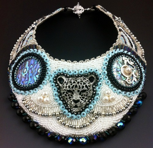 Silver Panther - Large Statement Collar Necklace, Bead Embroidered, Uptown Tribal. Hand crafted bead and gemstone jewelry by Doro Soucy