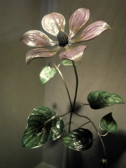 Beautiful handmade enamel flowers by Russian artist – jeweler Nikolay Suslov