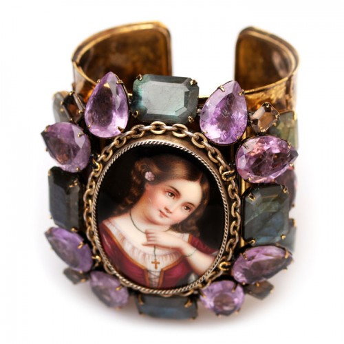 Bracelet Brooch with a portrait of a girl in a red dress