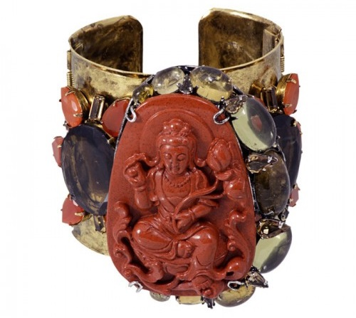 Bracelet, brooch with jasper medallion with the figure of the Red Tara. Iradj Moini