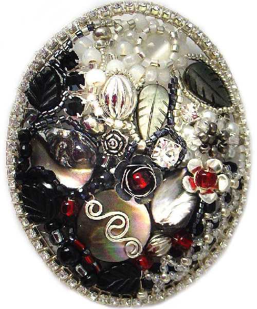 Brooch Winter. Pearl, silver, crystals