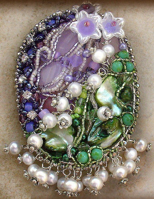 Brooch based on Faberge egg 'Lilies of the Valley'