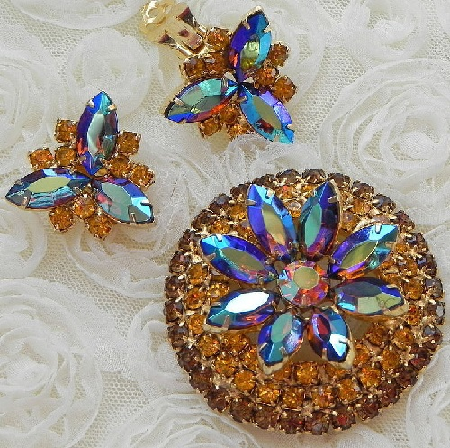 De Lizza & Elster (Juliana) set of brooch and clips