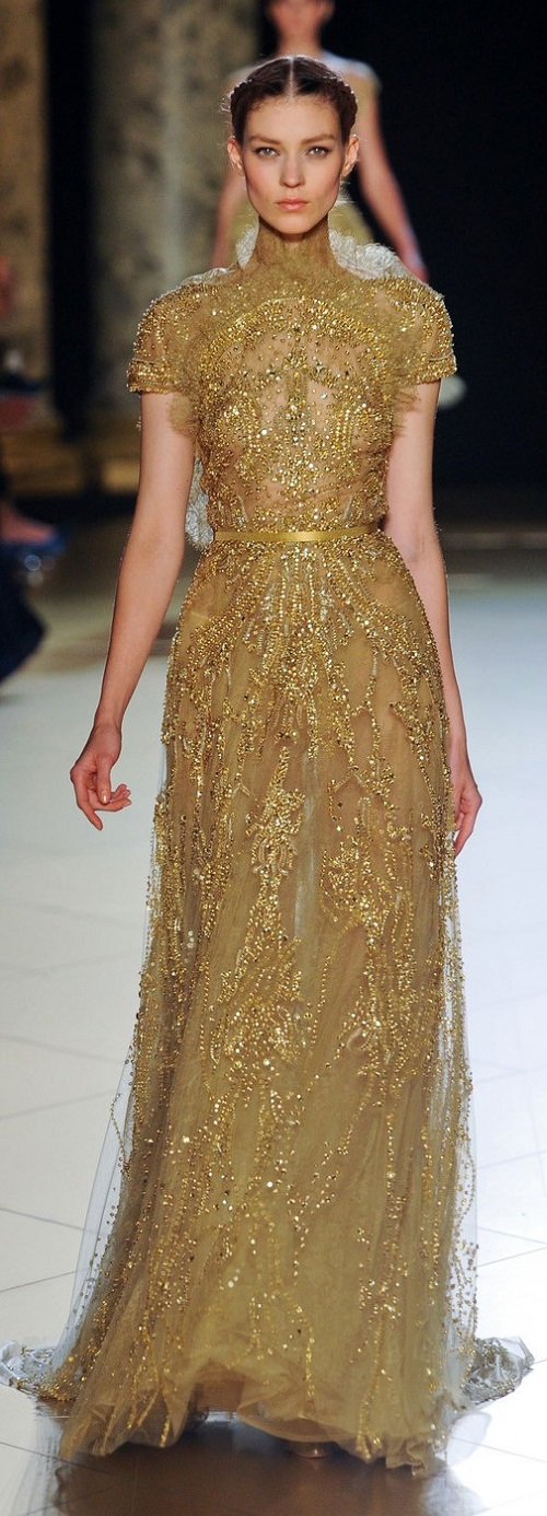 Elie Saab Fall 2013 gold dress