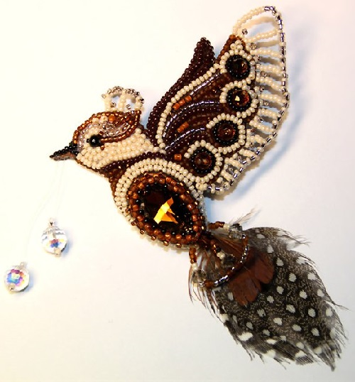 Fairy-tale Bird brooch