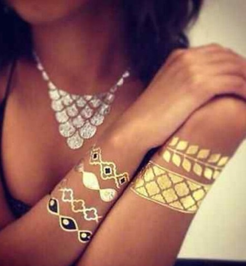 Gold and Silver Temporary Metallic Tattoo