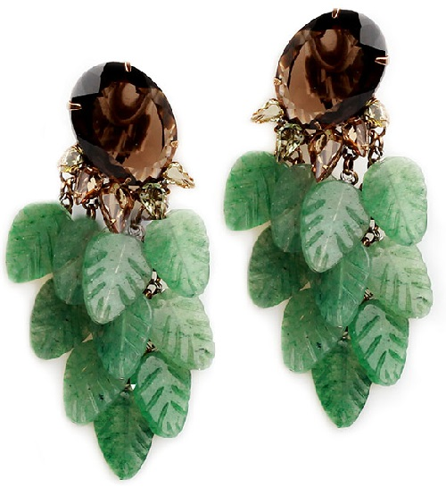 Iradj Moini Clips with movable jade leaves, topaz, citrines, Costume jewelery metal alloy, gilding