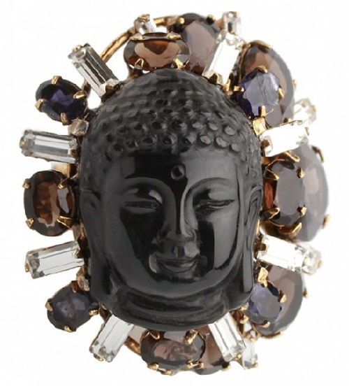 Iradj Moini ring with Buddha face. obsidian, rock crystal, topaz, citrine, iolite, Costume jewelery metal alloy, gilding