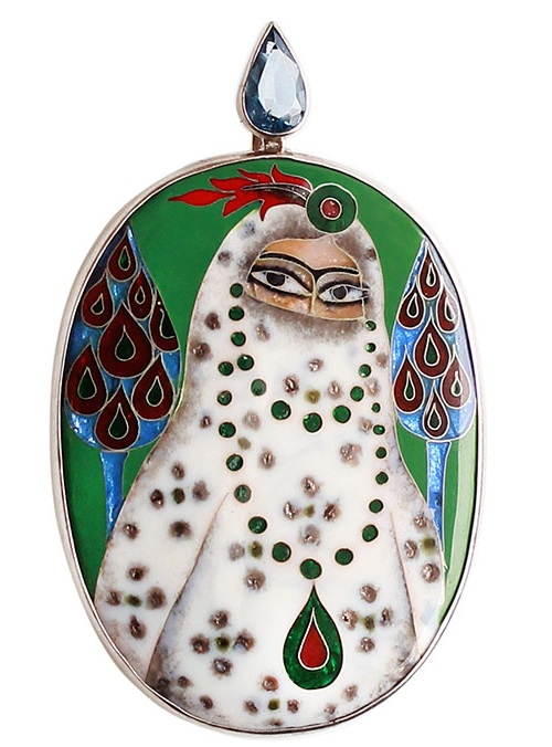 Large brooch-pendant with a picture of Princess Gurdji Khatun