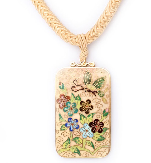 Choosing necklace. Les Bernard vintage necklace-pendant with botanical ornament