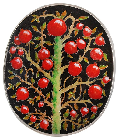 Minankary jewellery Art. Large ring Pomegranate Tree. Silver, hot cloisonne