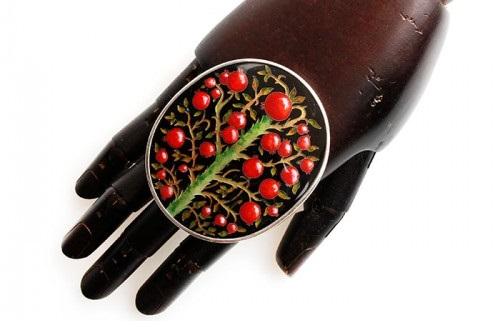 Minankary Large ring Pomegranate Tree. Silver, hot cloisonne