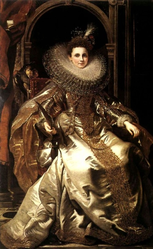 Portrait of Maria Serra Pallavicino in gold dress. 1606. Artist Peter Paul Rubens (1577-1640)