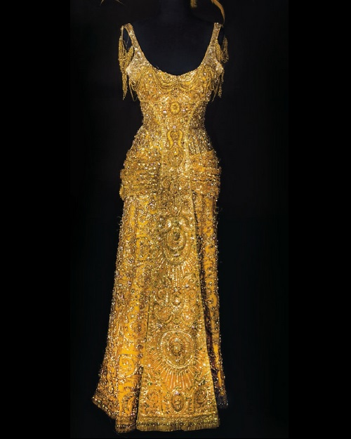 Shimmering gold gown worn by Barbara Streisand in 1969 'Hello, Dolly!', costume designer Irene Sharaff