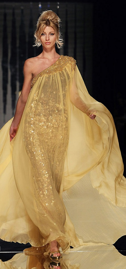 Shiny flowy chiffon gold evening sequin dress