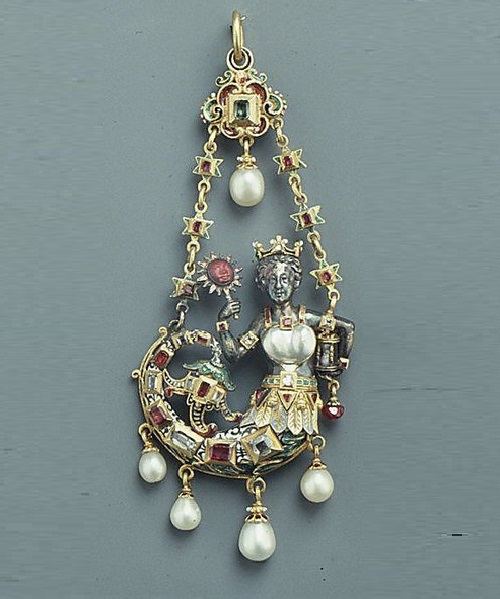 16th century-style pendant, 19th century. German or Italian. Gold, enamel, jewels