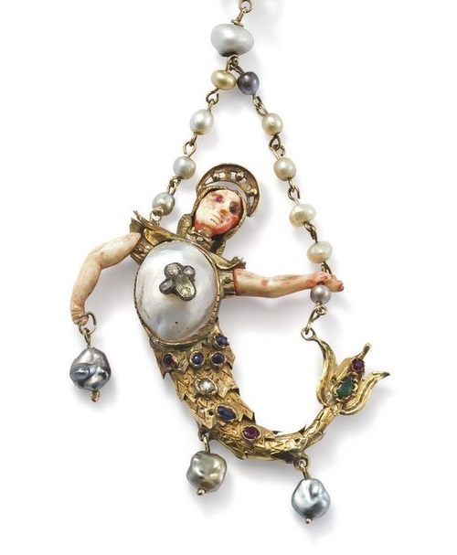 19th century Renaissance-style blister-pearl, pearl, ruby and emerald Merman pendant