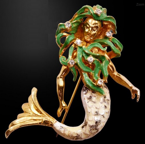 Hattie Carnegie Enameled Mermaid Brooch ca 1960