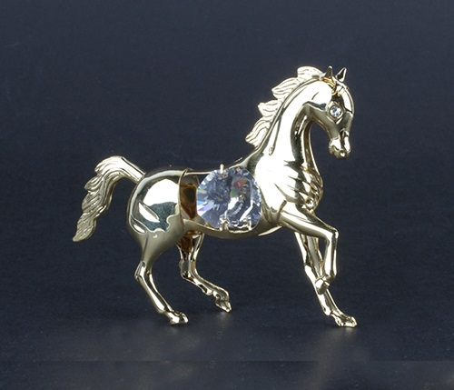 24K gold plated surface and Swarovski crystal decorated Horse