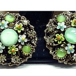 Charming Earrings with Aqua and Lime Faux Moonstone Cabochons – Set in light gold tone, with enameling in lime, aqua, orange and yellow, and jonquil rhinestone accents