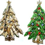 ART Enameled Christmas Tree Pin with Multi Rhinestones – Another book piece, shown enameled in Trobridge and non-enameled in Morrison