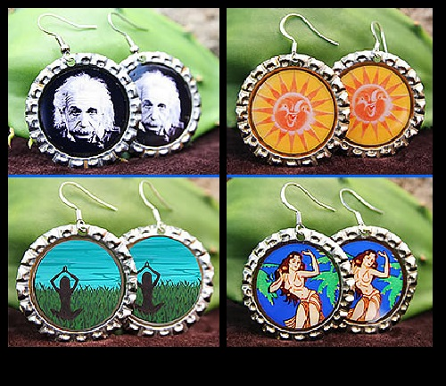 Bottle cap fashion. Aloha recycled Bottle Cap Earrings