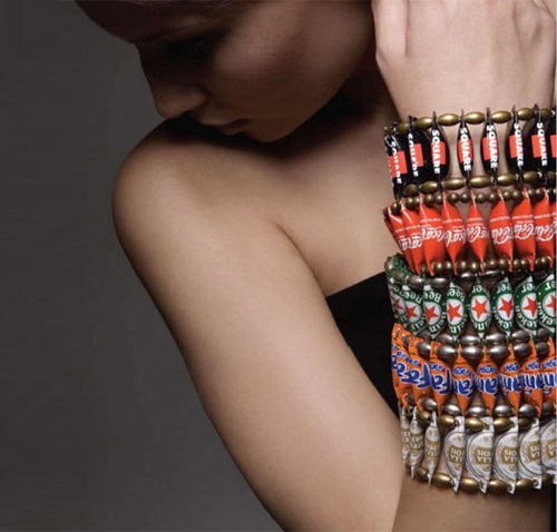 Bottle cap jewellery by Yoav Kotik, designer from Israel