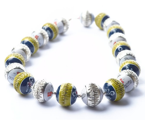 Bottle cap necklace by Yoav Kotik