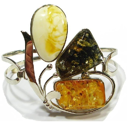 Bracelet with natural amber of three cognac, green, matt colors