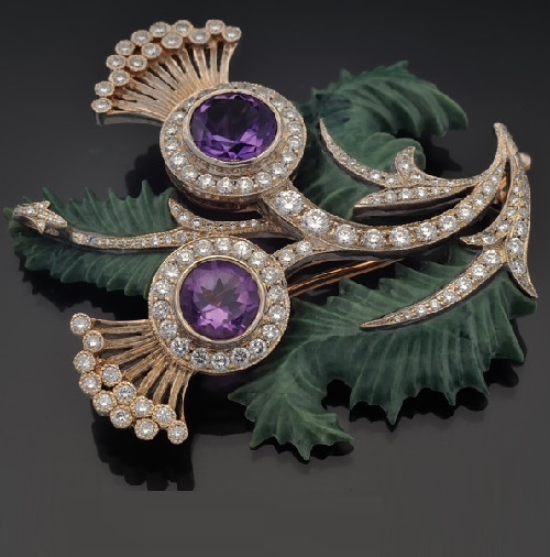 Brooch of gold with diamonds, amethysts and jasper