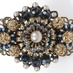 Pearl and glass cabochons brooch