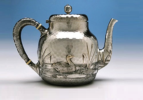 Dominick & Haff Sterling Silver Coffee & Tea Service detail