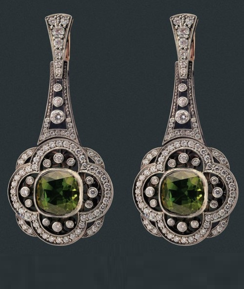 Earrings of gold and silver with diamonds and tourmalines