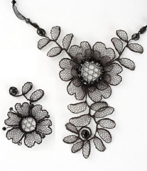 Lenka Suchanek necklace and pendant (copper, enamel, Swarovski crystals)
