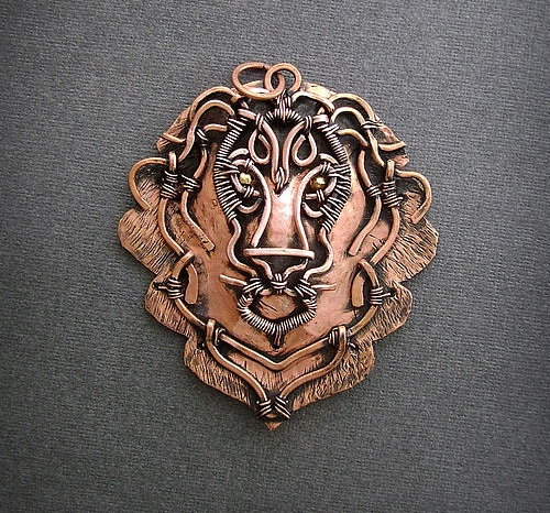 Lion Pendant made of copper sheet, copper wire, beads of pyrite
