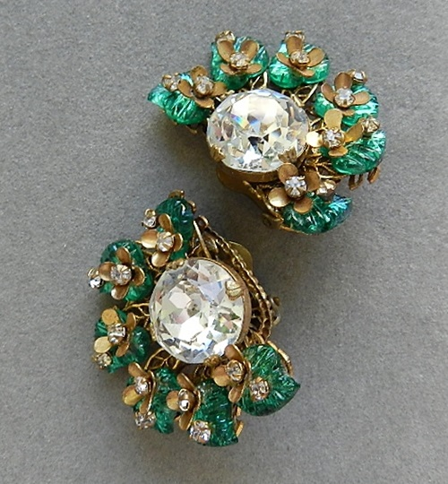 Miriam Haskell vintage clips, 1950s