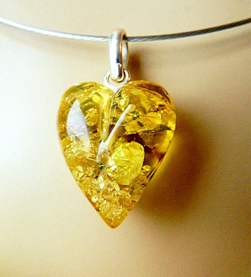 Amber Kaleidoscope. Pendant Lemon Heart