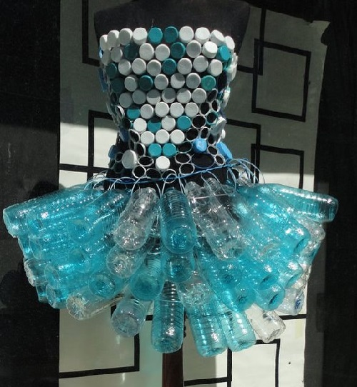 Plastic bottle and bottle caps dress